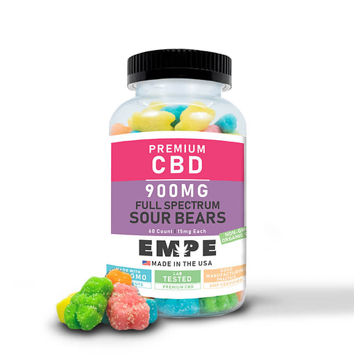 Full Spectrum CBD Gummy Sour Bears 900mg 60pcs with gummies