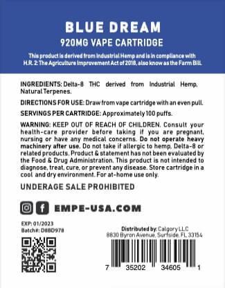 Delta-8 Vape Cartridge Blue Dream Ingredients