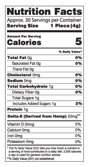 Delta 8 Sour Gummies 300mg Nutrition Facts