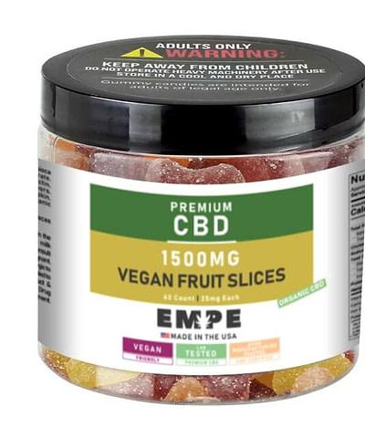 CBD Organic Gummies Vegan Fruit Slices 1500mg