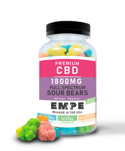Full Spectrum CBD Gummy Sour Bears 1800mg 120pcs with gummies
