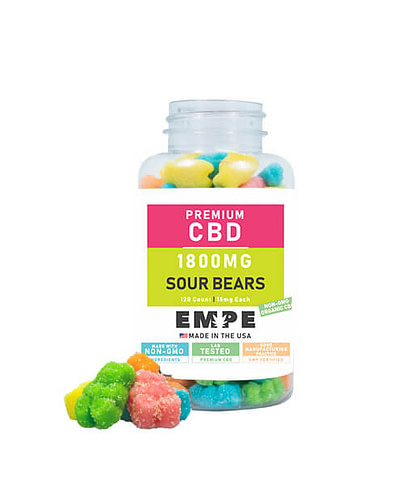 CBD Sour Bear Gummies 1800mg with Products