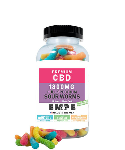 CBD Full Spectrum Sour Worms 1800mg with products