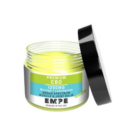 CBD Broad Spectrum Lemongrass Moringa Muscle Joint Balm Open 1200mg