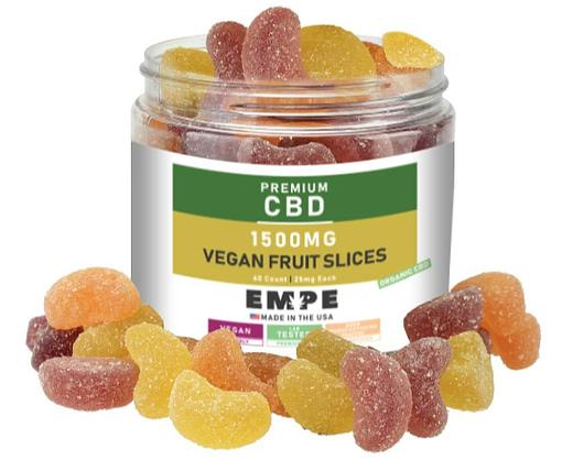 CBD Organic Gummies Vegan Fruit Slices 1500mg with gummies