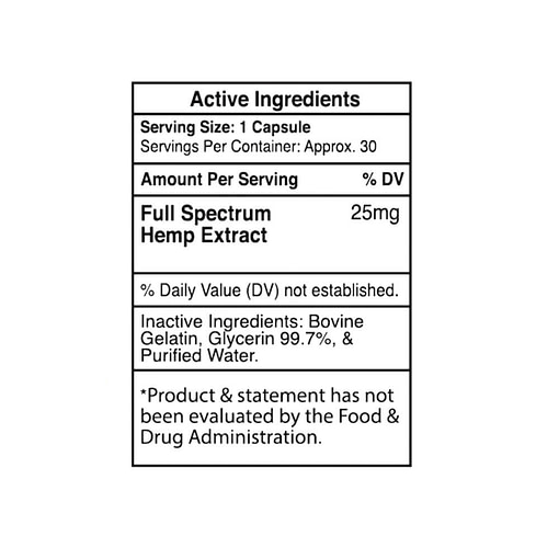 Full Spectrum Empe USA softgels 750mg 25 pc Ingredients